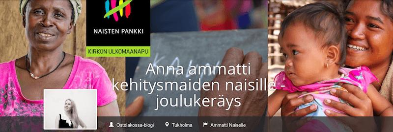 Anna Ammatti Kehitysmaiden Naisille -joulukeräys Ostolakossa-blogi