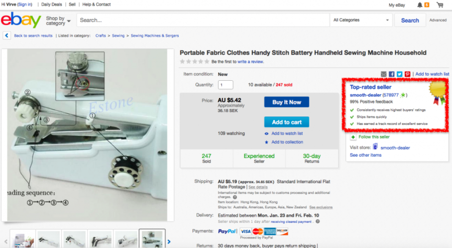 Ohjeet ebay shoppailuun